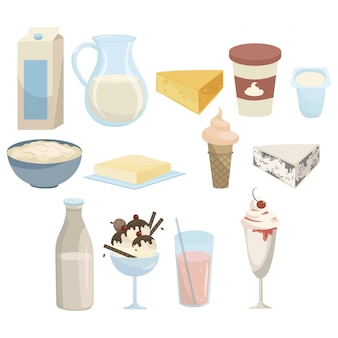 Set van melkproducten. collectie van zuivelproducten. voedingsmiddelen uit melk.