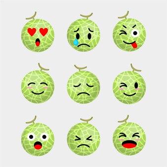Set van meloen emoticon