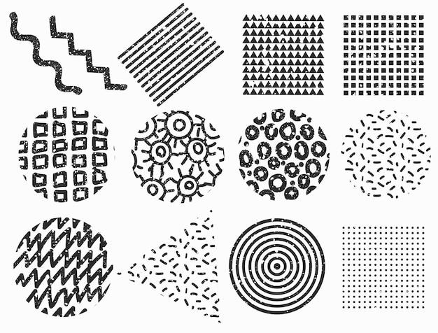 Set van memphis geometrische vormen. getextureerde vectorelementen.