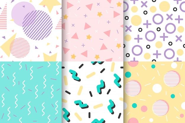 Set van memphis naadloze patroon met geometrische element
