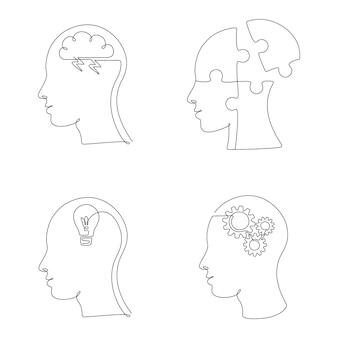 Set van menselijk hoofd met mentale toestand en emoties in één lijntekening. vectorillustratie creatieve geest, studie en ontwerp iconen, logo's voor psycholoog social media post