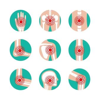 Set van menselijke gewrichten met pijnringen. ziekte in bot, knie, been, bekken, schouderblad, schedel, elleboog, voet en hand illustratie. artritis en reuma pictogrammen.