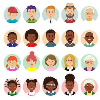 Set van menselijke gezichten, avatars, mensenhoofden van verschillende nationaliteiten en leeftijden in vlakke stijl.