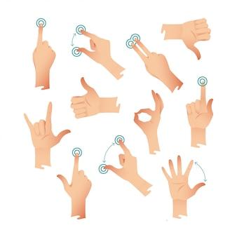 Set van menselijke handen applaus tik op het helpen van actiegebaren. illustratie