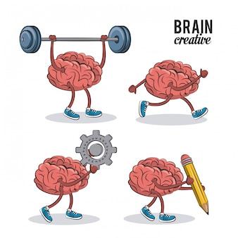 Set van menselijke hersenen iconen