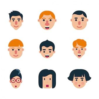 Set van menselijke karakter platte gezichten vector ontwerp pictogram pack