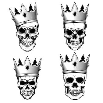 Set van menselijke schedels met koningskroon. element voor poster, print, embleem, teken. illustratie