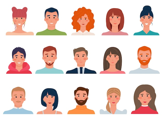 Set van mensen avatars in vlakke stijl. diversiteitsgroep van jonge mannen, jongens, meisjes, vrouwen, transgenders. brunettes, bruinharigen, blondines en roodharigen. vector illustratie
