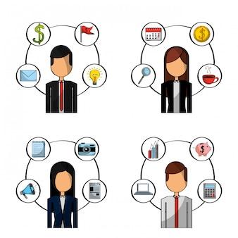 Set van mensen busines kantoorartikelen