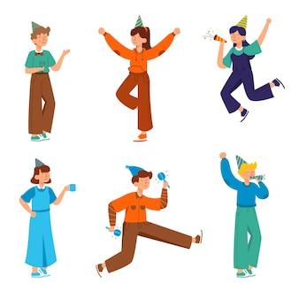 Set van mensen die mooie kledingcollectie dragen, geïsoleerde illustratie, gelukkig partijconcept