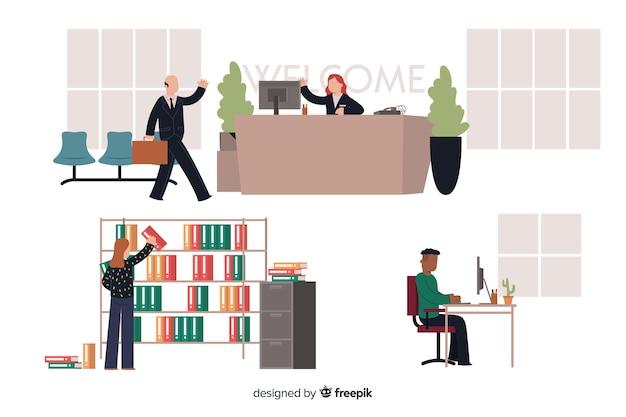 Set van mensen die werken op kantoor