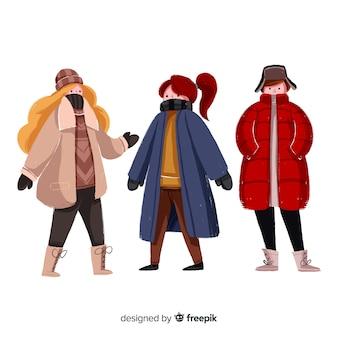 Set van mensen die winterkleren dragen