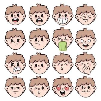 Set van mensen emotie, reactie cute cartoon emoji
