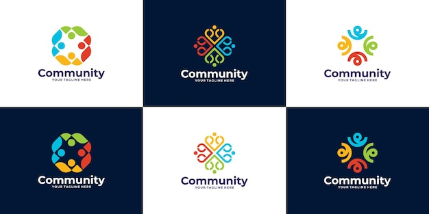 Set van mensen en gemeenschapslogo-ontwerp voor teams of groepen