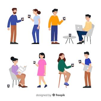 Set van mensen en technologie