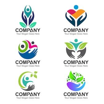 Set van mensen gezondheid en zorg logo