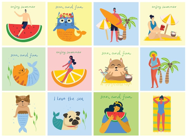Set van mensen, mannen en vrouwen met verschillende tekens. vector grafische objecten voor collages en illustraties. moderne kleurrijke vlakke stijl.