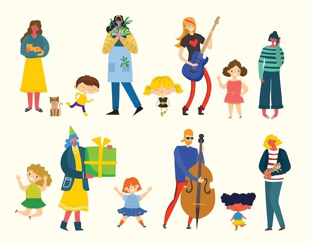 Set van mensen, mannen en vrouwen met verschillende tekens