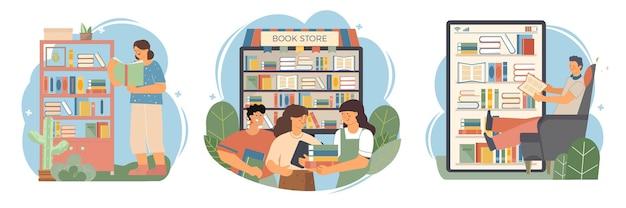 Set van mensen met boeken