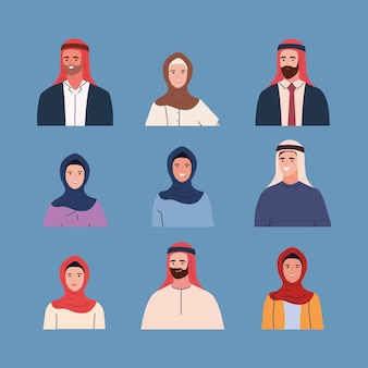 Set van mensen moslim in traditionele outfit