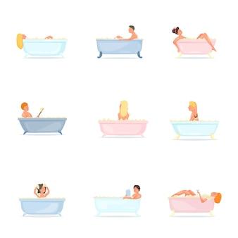 Set van mensen nemen een bad in een keramiek of plastic bad