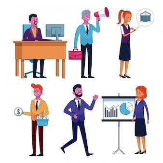 Set van mensen uit het bedrijfsleven en office-pictogrammen