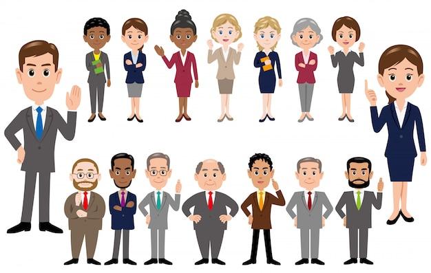 Set van mensen uit het bedrijfsleven, kantoorpersoneel in verschillende poses.