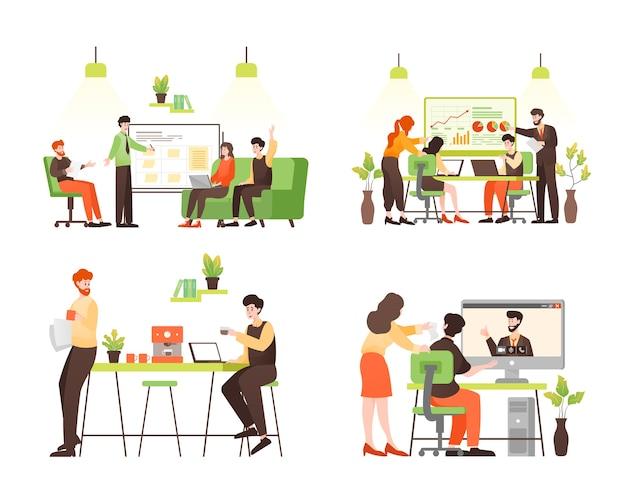 Set van mensen uit het bedrijfsleven teken in kantoor