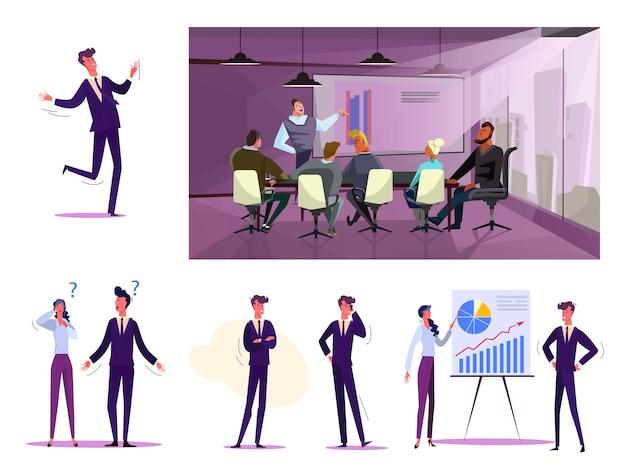 Set van mensen uit het bedrijfsleven tijdens het werk