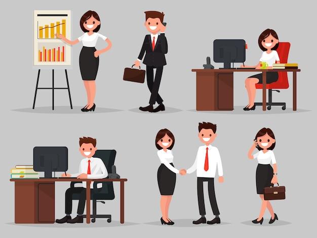 Set van mensen uit het bedrijfsleven