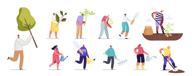 Set van mensen werken in de tuin. mannelijke en vrouwelijke personages planten bomen, verzorging van groene spruiten met behulp van werkende instrumenten hark, gieter geïsoleerd op een witte achtergrond. cartoon vectorillustratie