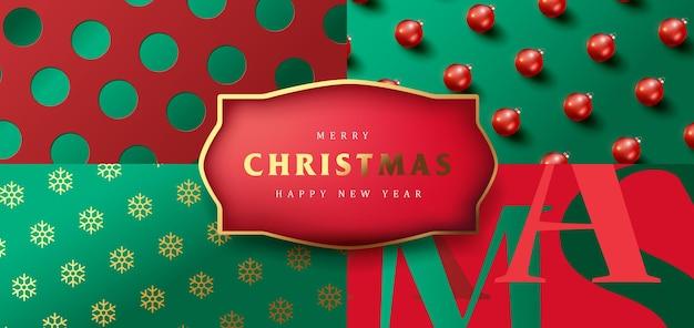 Set van merry christmas-achtergrondverpakkingsontwerp