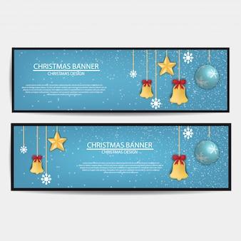 Set van merry christmas banner