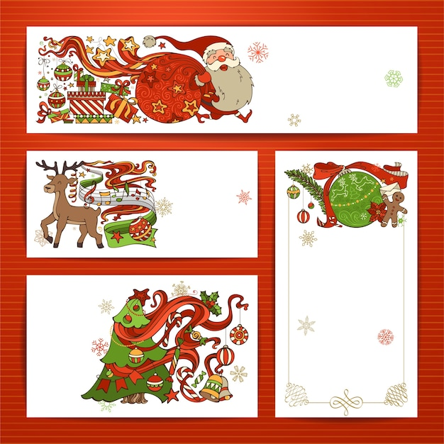 Set van merry christmas-banners