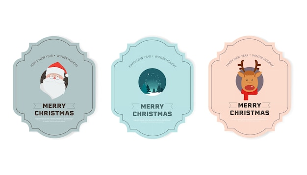 Set van merry christmas en gelukkig nieuwjaar label winter ontwerp