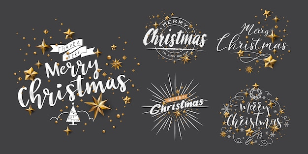 Set van merry christmas kalligrafische ontwerpen