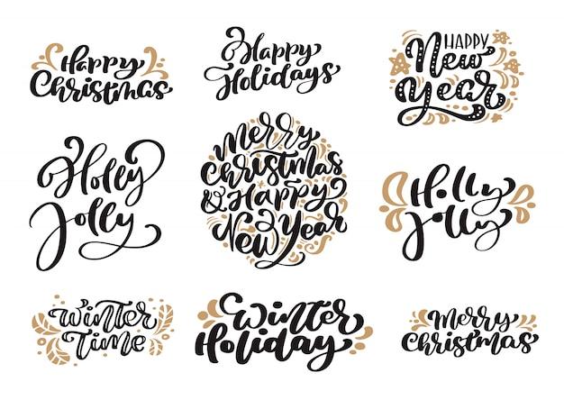 Set van merry christmas vintage belettering