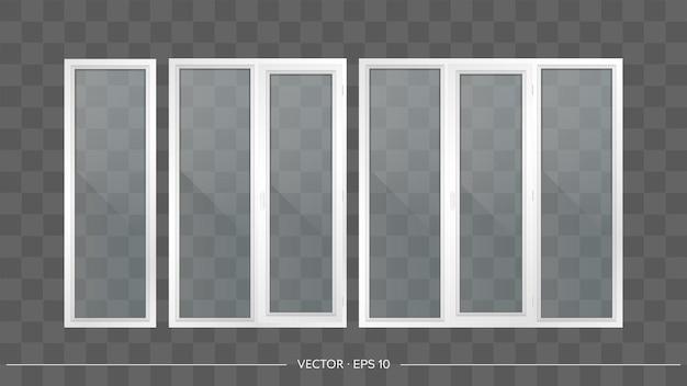 Set van metaal-kunststof ramen met transparante glazen. moderne ramen in een realistische stijl.