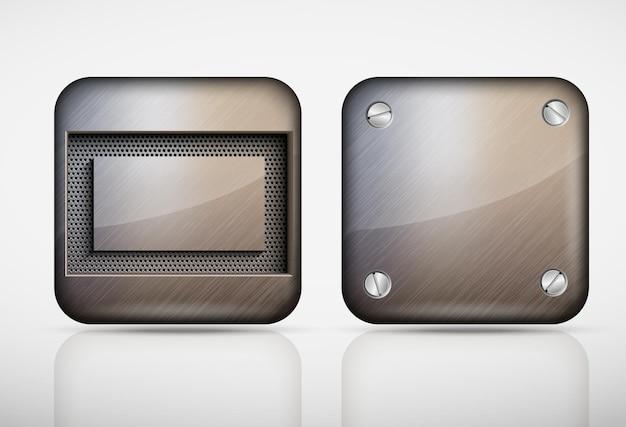 Set van metalen panelen geïsoleerd op grijs