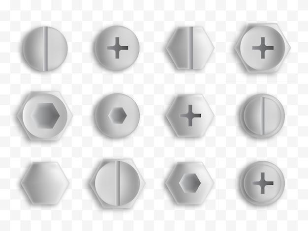 Set van metalen schroeven en bouten geïsoleerd.