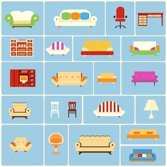 Set van meubels pictogrammen