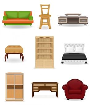 Set van meubilair vectorillustratie. bank, bed, stoel, bureau, kast