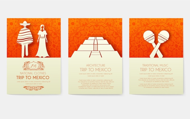 Set van mexicaanse land ornament posters