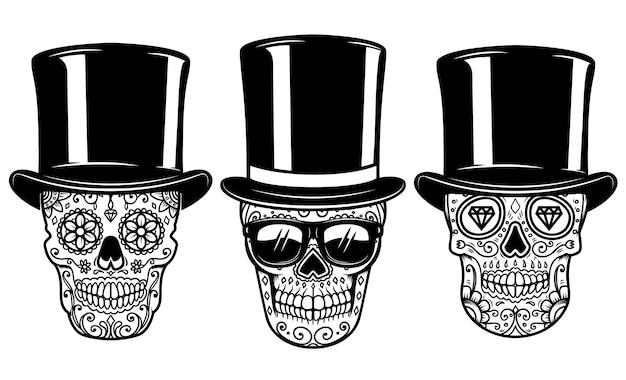 Set van mexicaanse suikerschedel in vintage hoed en zonnebril. dag van de doden.