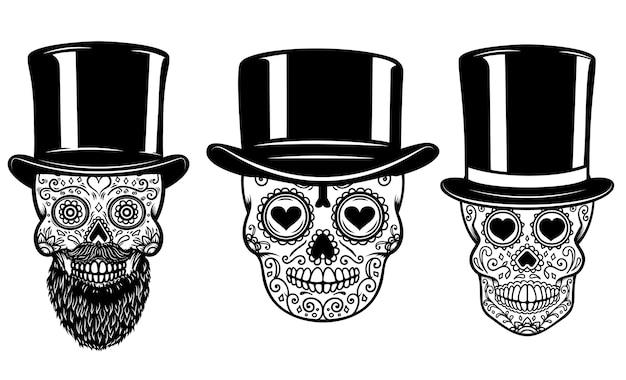 Set van mexicaanse suikerschedel in vintage hoed en zonnebril.
