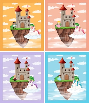 Set van middeleeuws kasteel