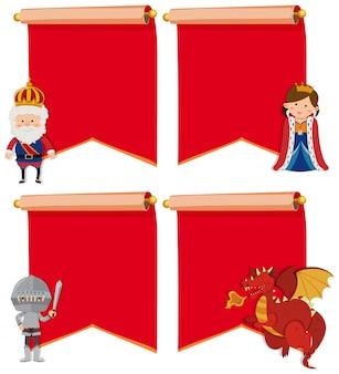 Set van middeleeuwse karakters met copyspace