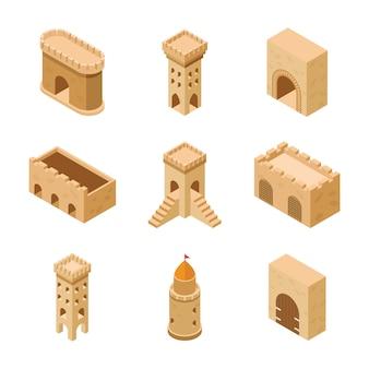Set van middeleeuwse kasteelelementen