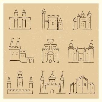 Set van middeleeuwse kastelen lijn icos