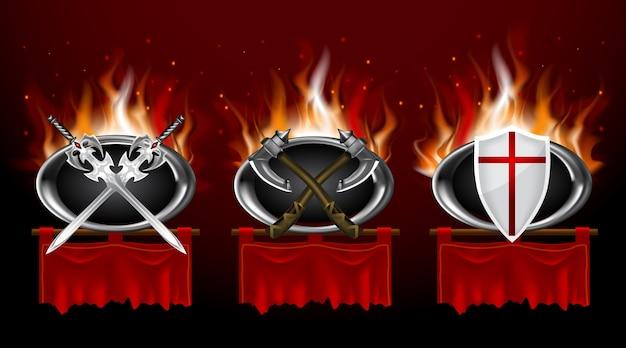 Set van middeleeuwse logo's en rode gescheurde foldetbanners. realistische spelstijl.